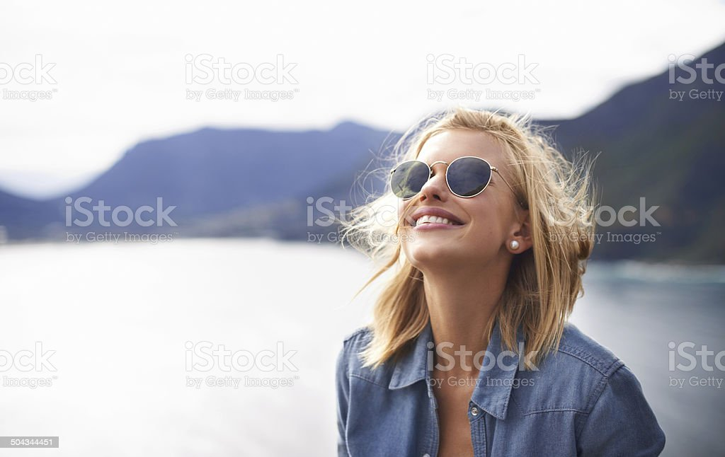 Feeling free in nature stock photo