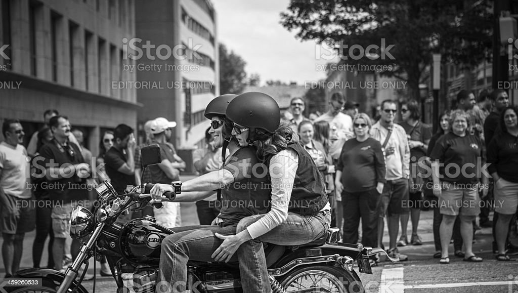 feeling free on a motorcycle stock photo