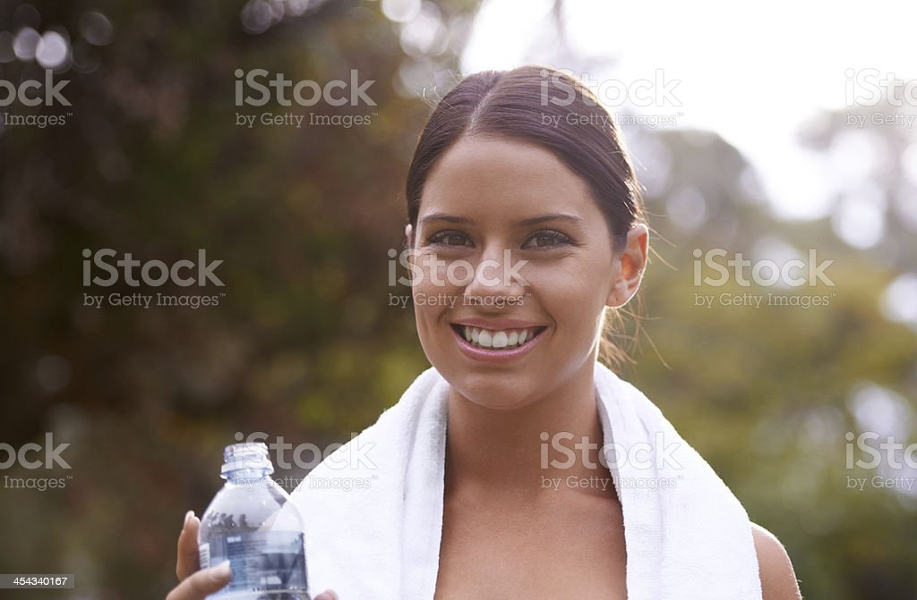 Feeling good after a heavy workout stock photo