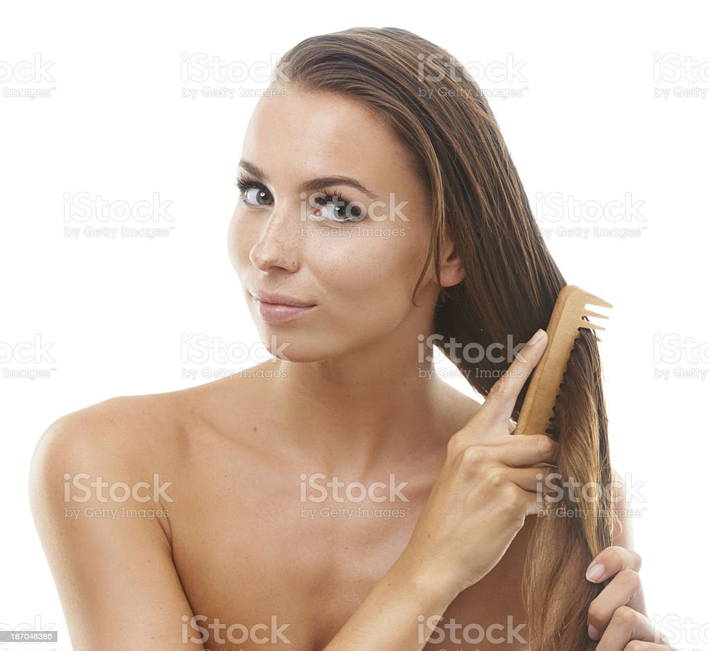 Feeling great after a hair treatment royalty-free stock photo