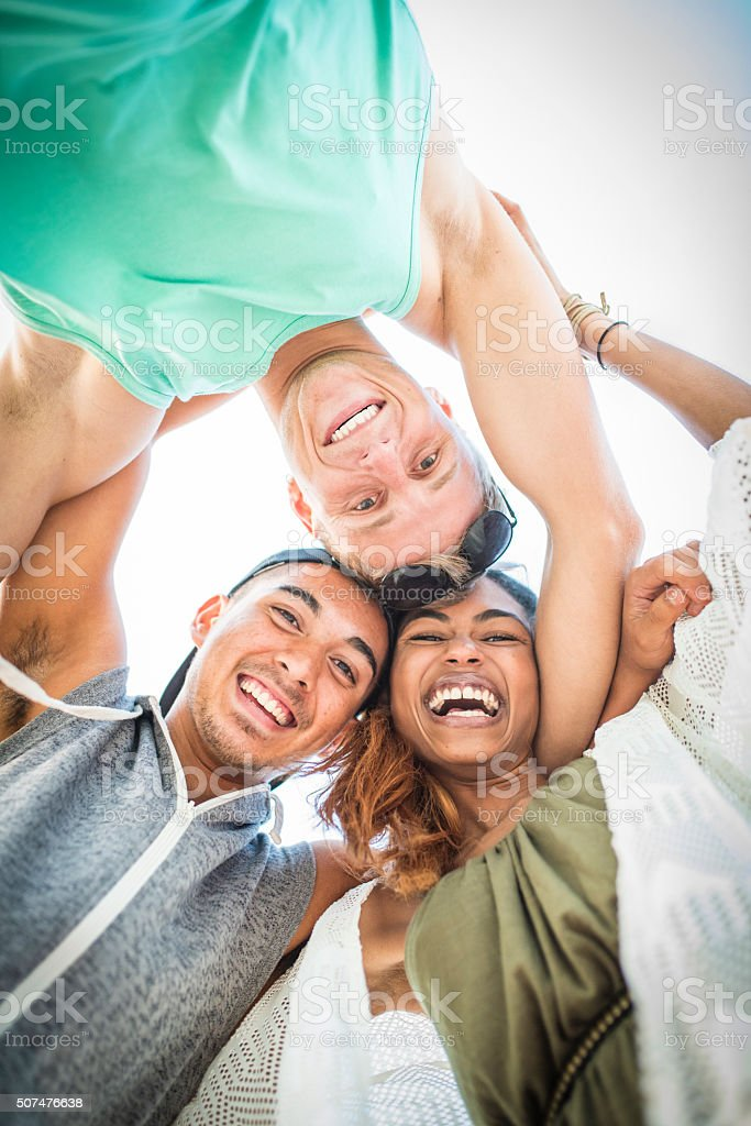 Feeling great with friends stock photo