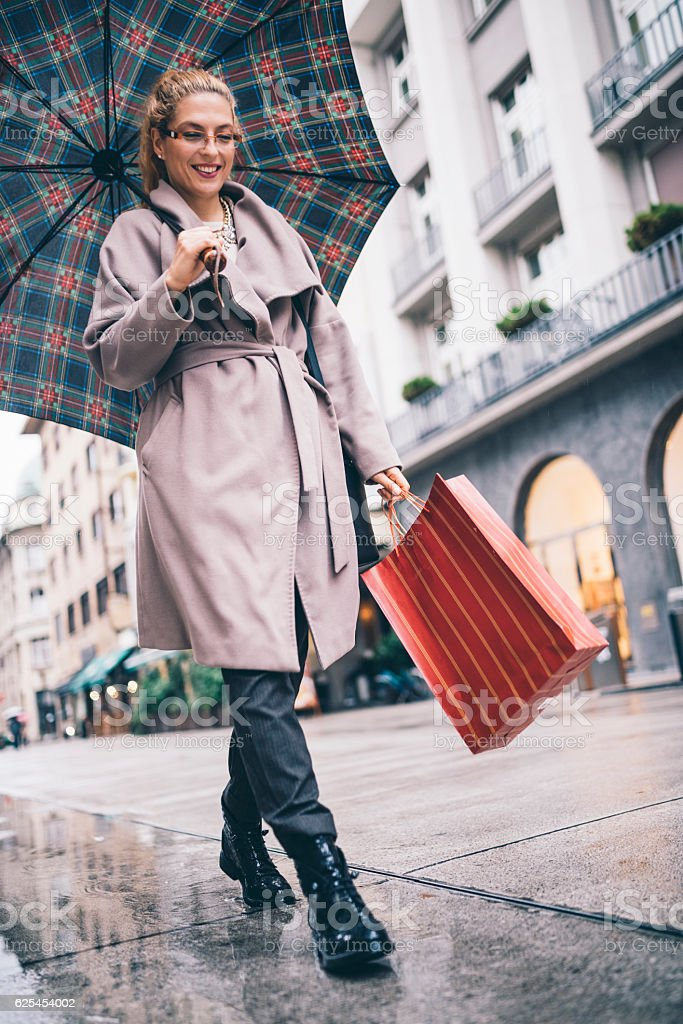 Feeling happy after shopping stock photo