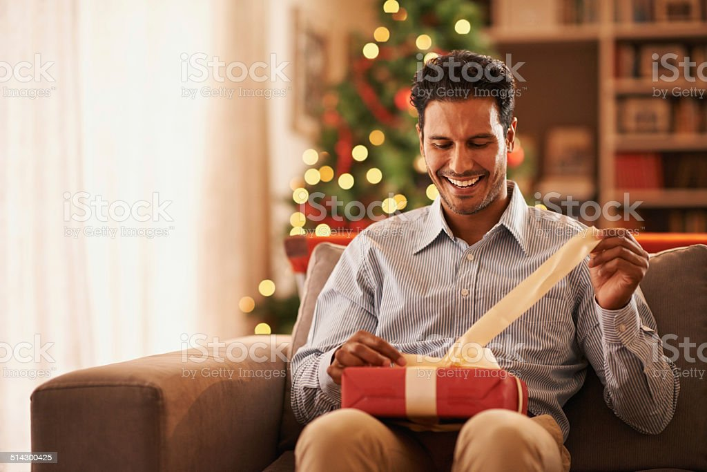 Feeling like a kid on christmas stock photo