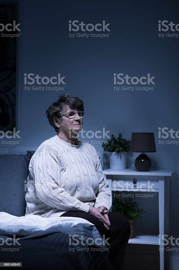 Feeling lonely at night stock photo