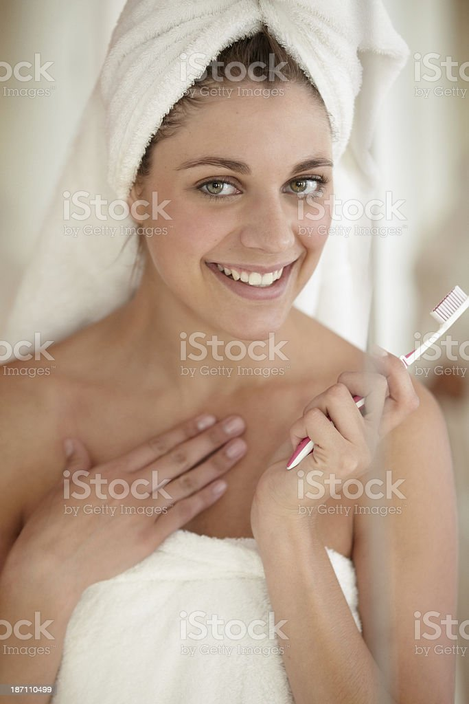 Feeling positive about dental hygiene royalty-free stock photo