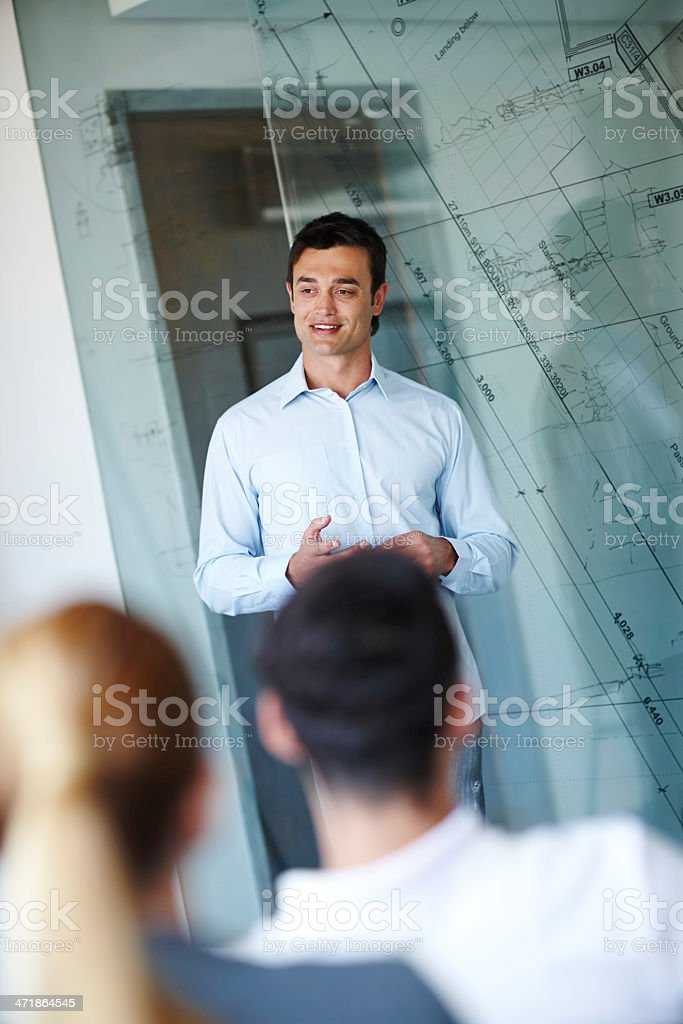 Feeling positive about his project presentation royalty-free stock photo