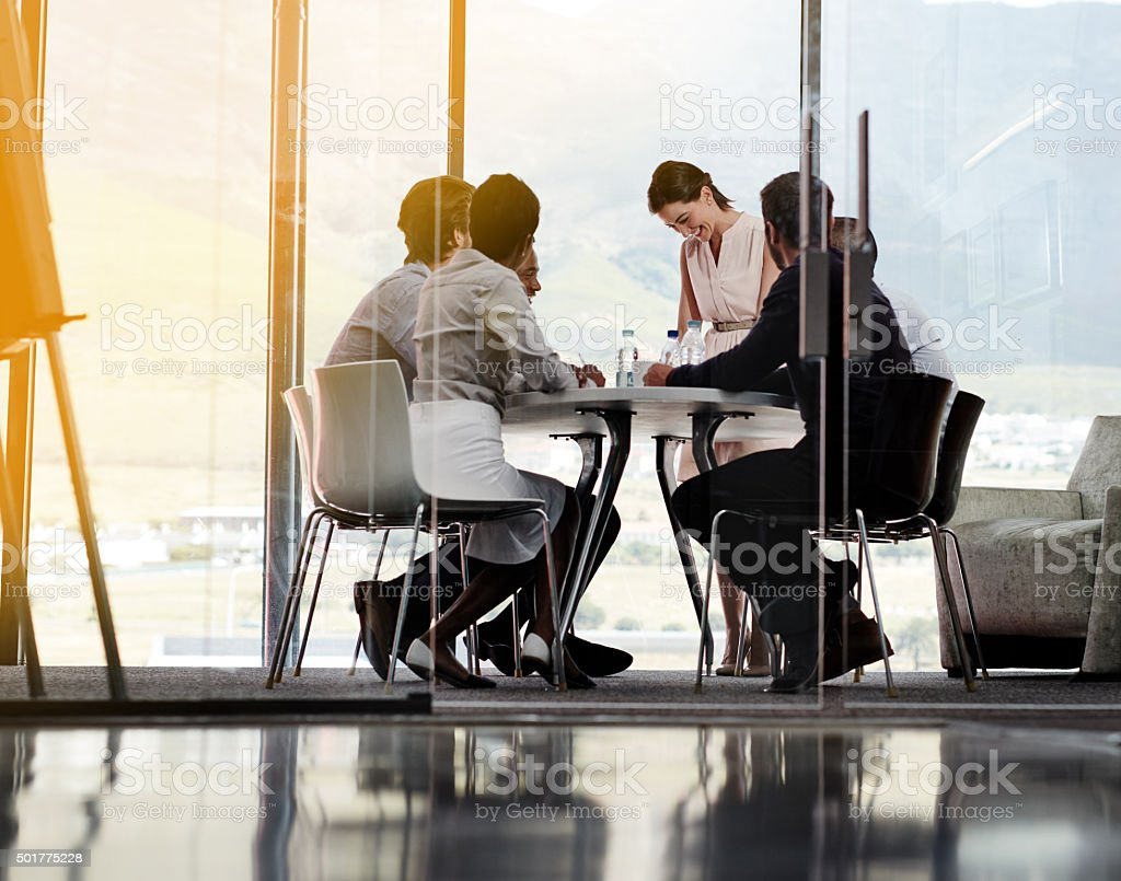 Feeling positive about today's meeting stock photo