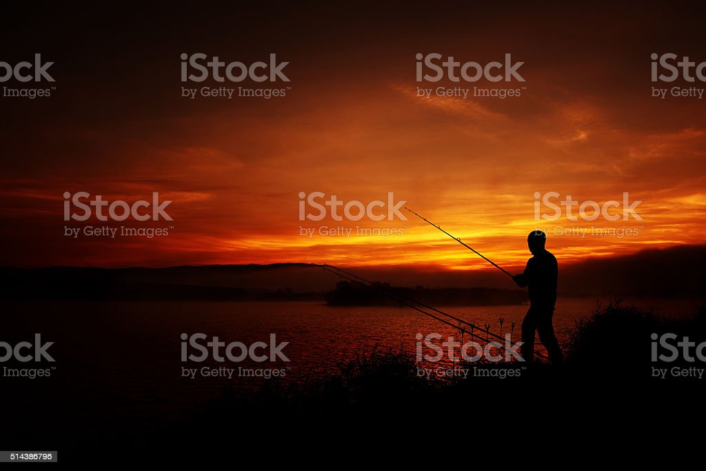 feeling relaxed while fishing stock photo