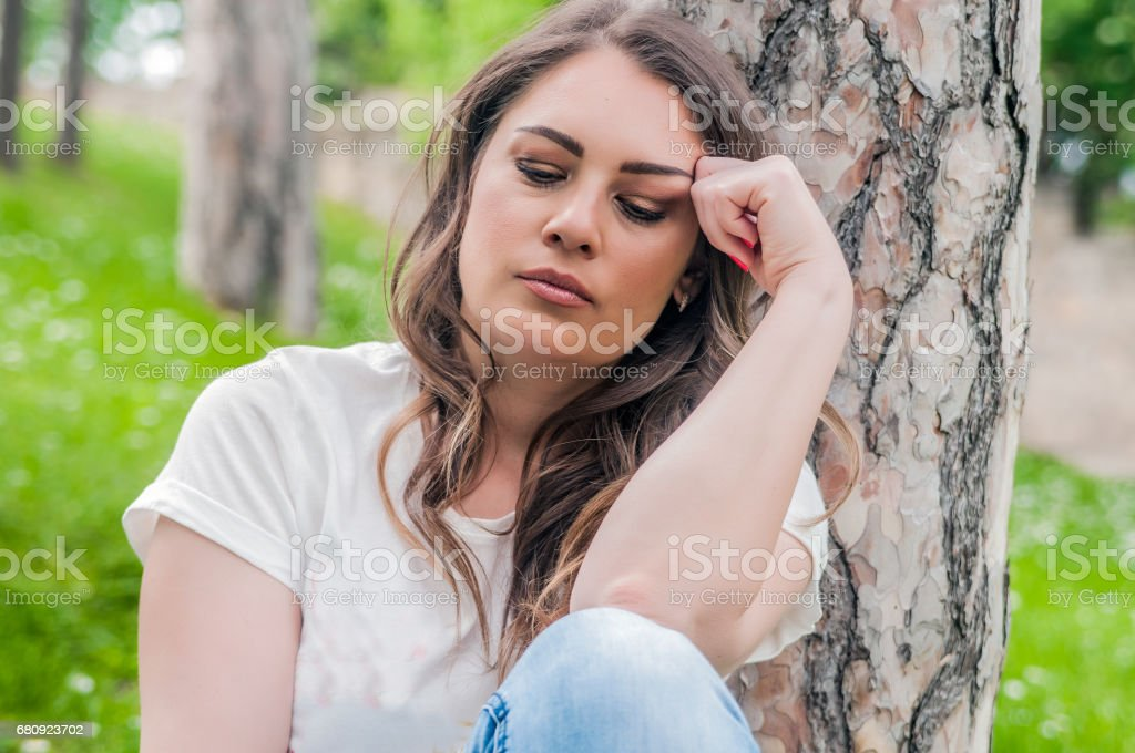 Feeling sad and vulnerable stock photo