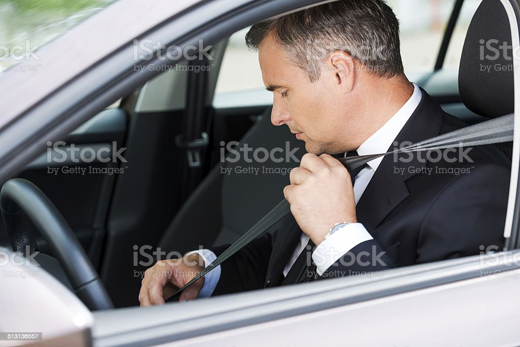 Feeling safe in new car. stock photo