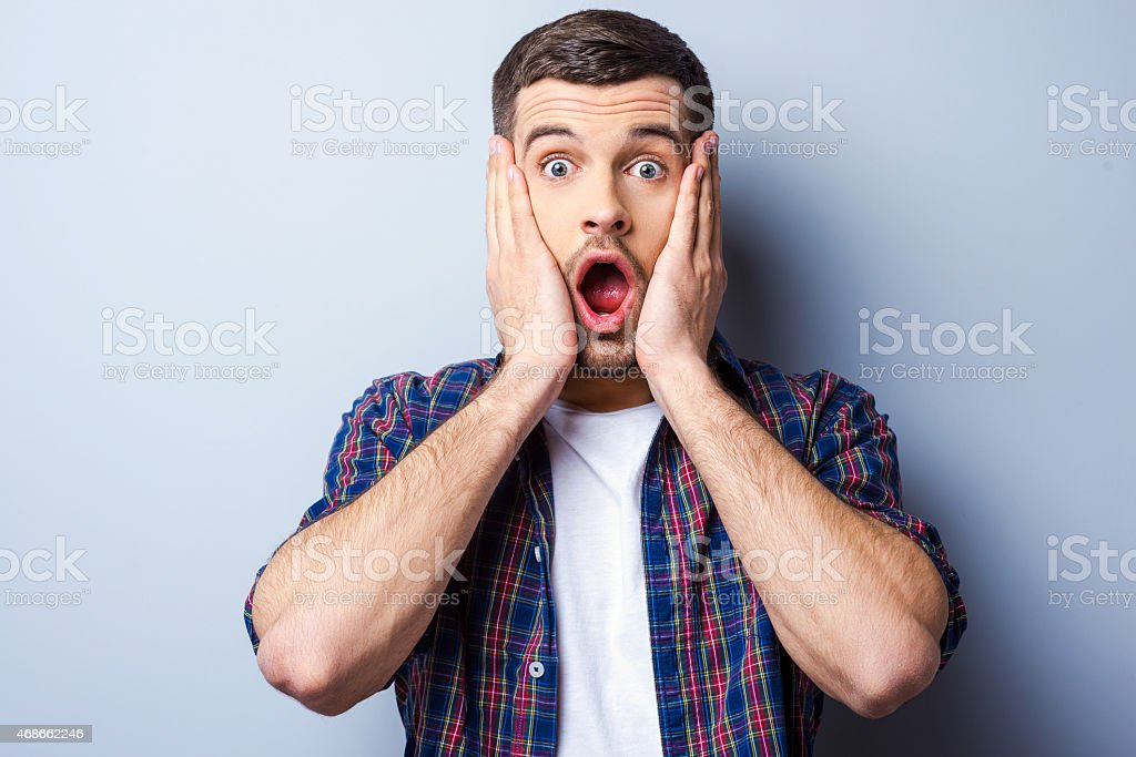 Feeling shocked. stock photo