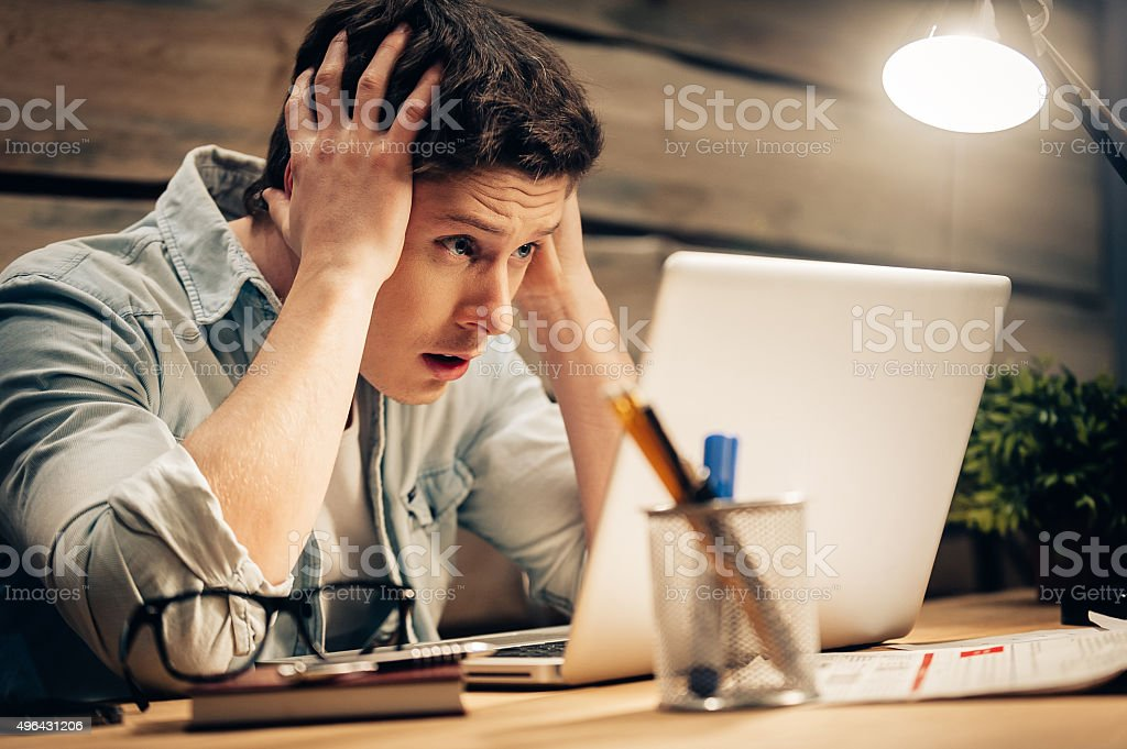 Feeling sick and tired. stock photo