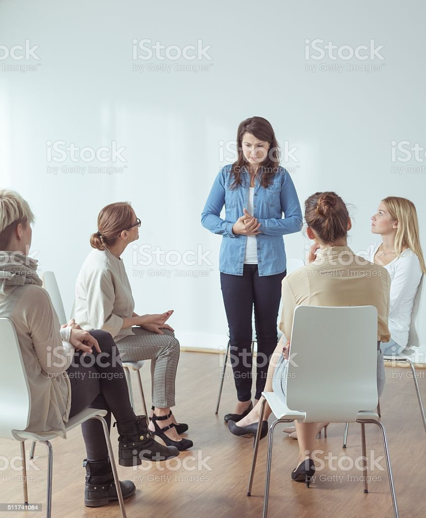 Feeling stressed during public appearance stock photo