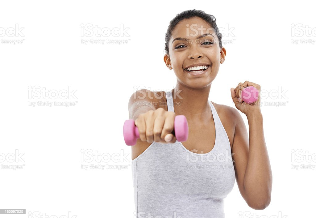 Feeling the burn and pushing through with a smile! royalty-free stock photo