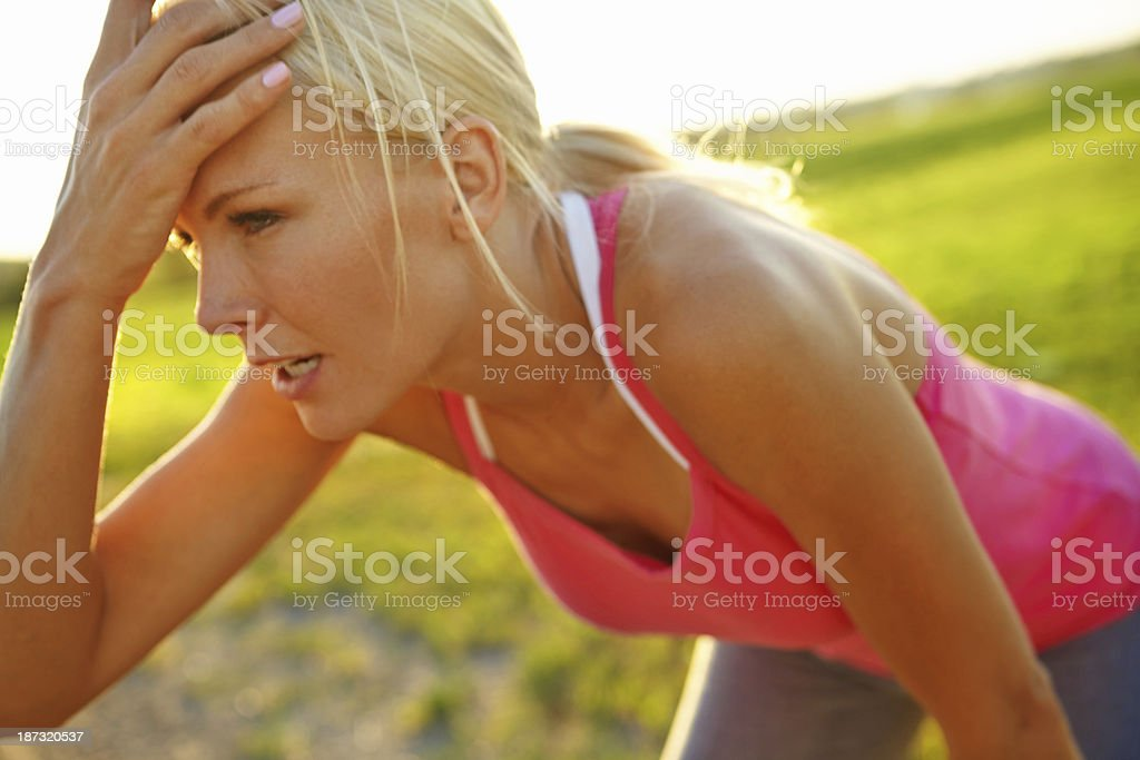 Feeling the burn of a good workout royalty-free stock photo