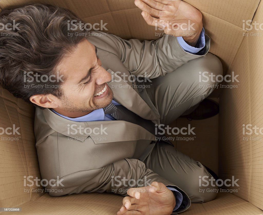 Feeling the business crunch! stock photo