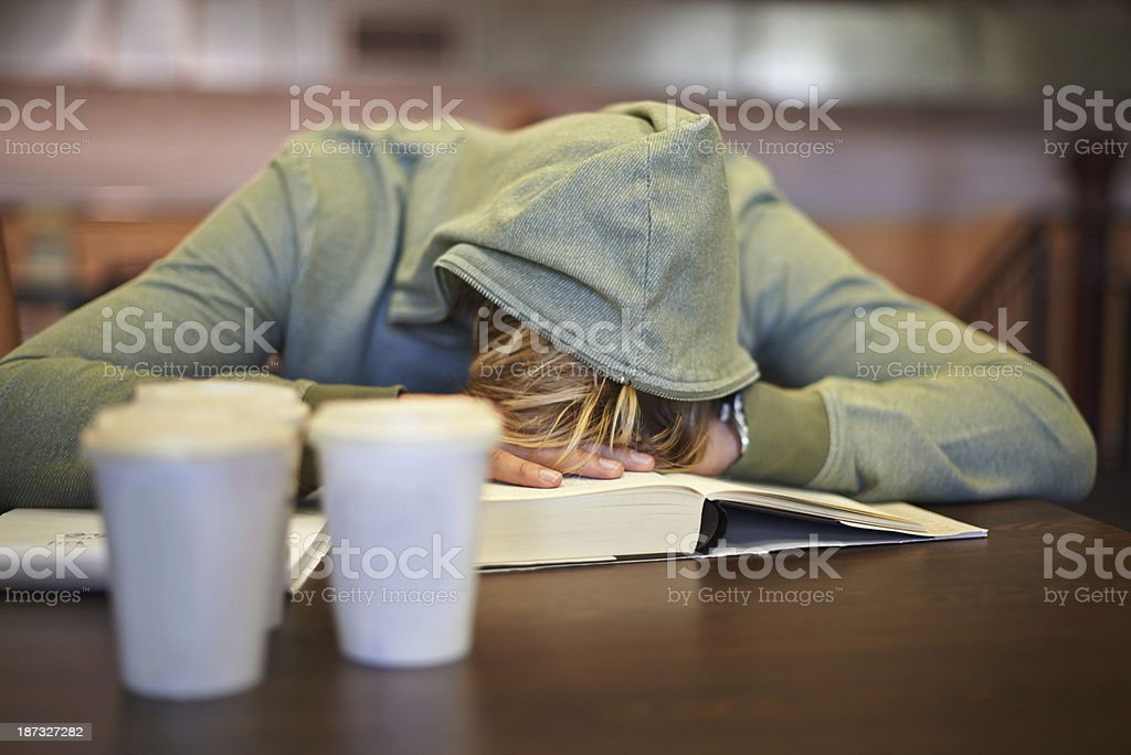 Feeling the strain of looming exams stock photo