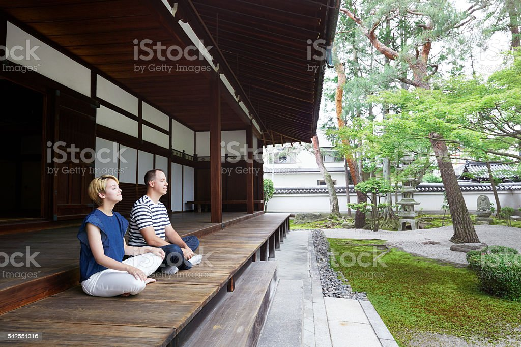 feeling the zen, breething the air in stock photo