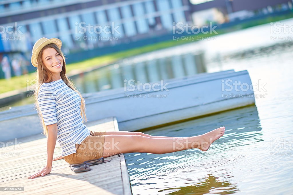 Feels good to be outdoors stock photo