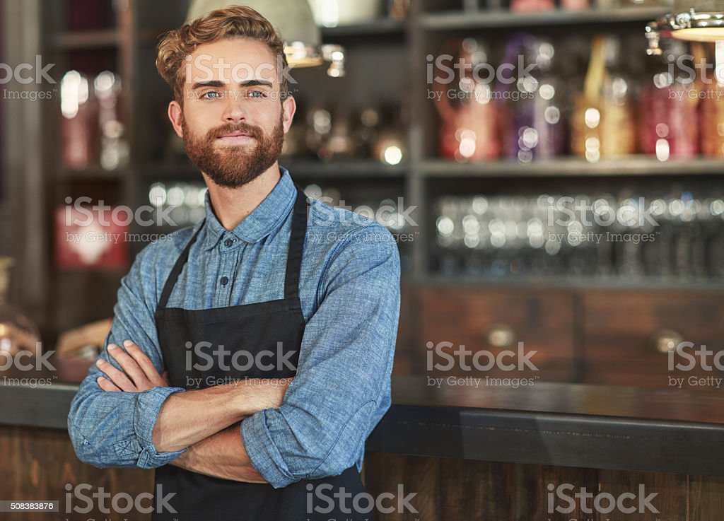 Feels good to be running a successful coffee shop stock photo