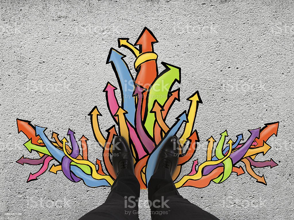 feet and color arrows stock photo