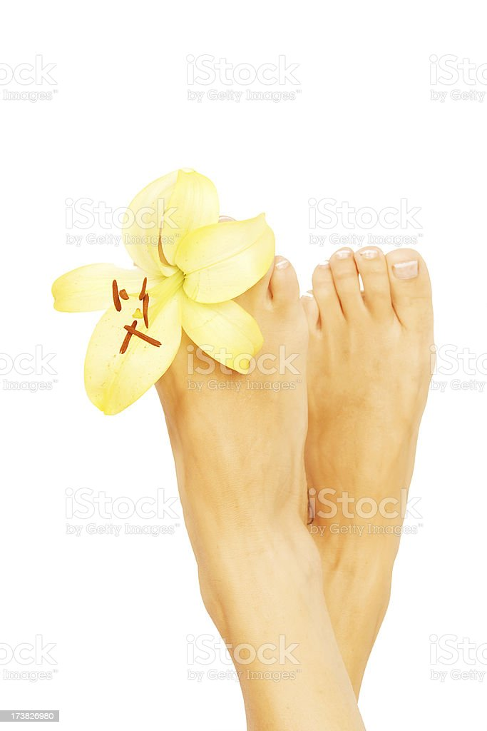 Feet and Flower royalty-free stock photo