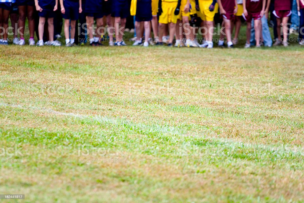 Feet and Legs at a Cross Country Meet stock photo