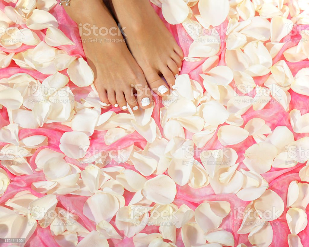 feet and roses royalty-free stock photo