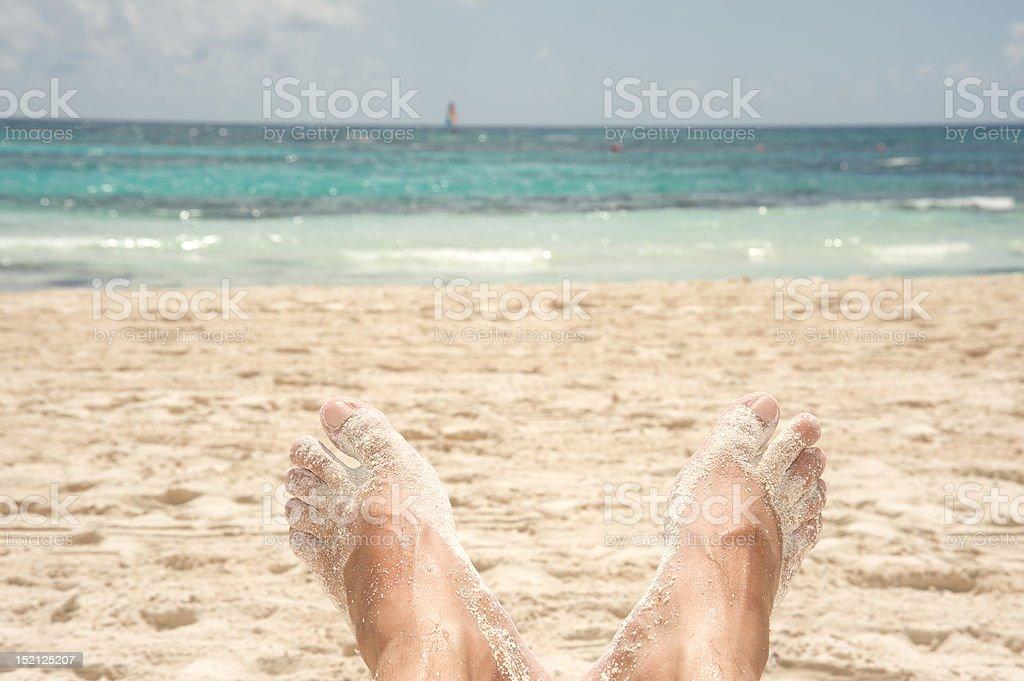 Feet at the beach royalty-free stock photo