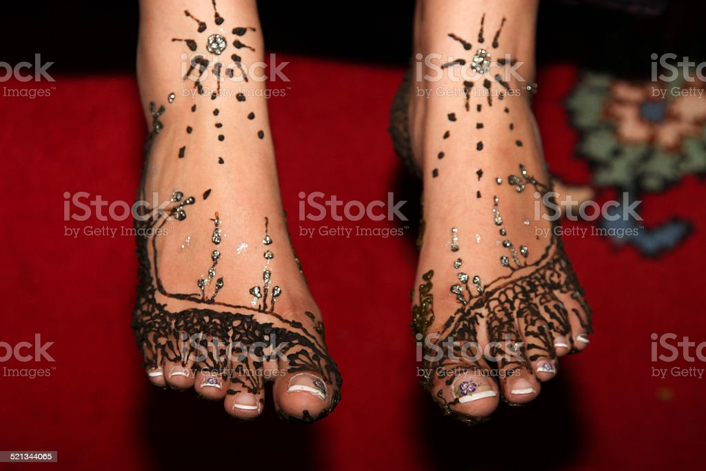 Pieds dessins henn? stock photo