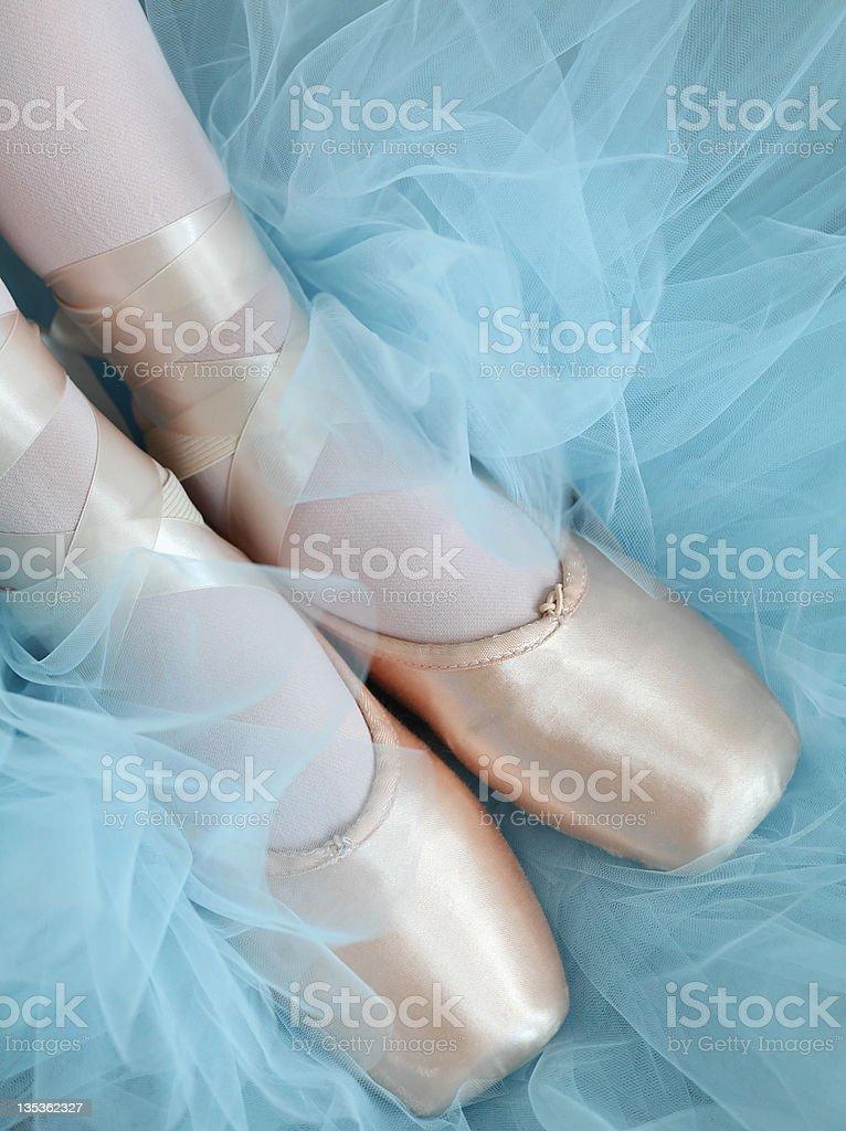 Pés em balé chinelos com Tutu fundo foto royalty-free