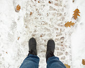 Feet in the snow.