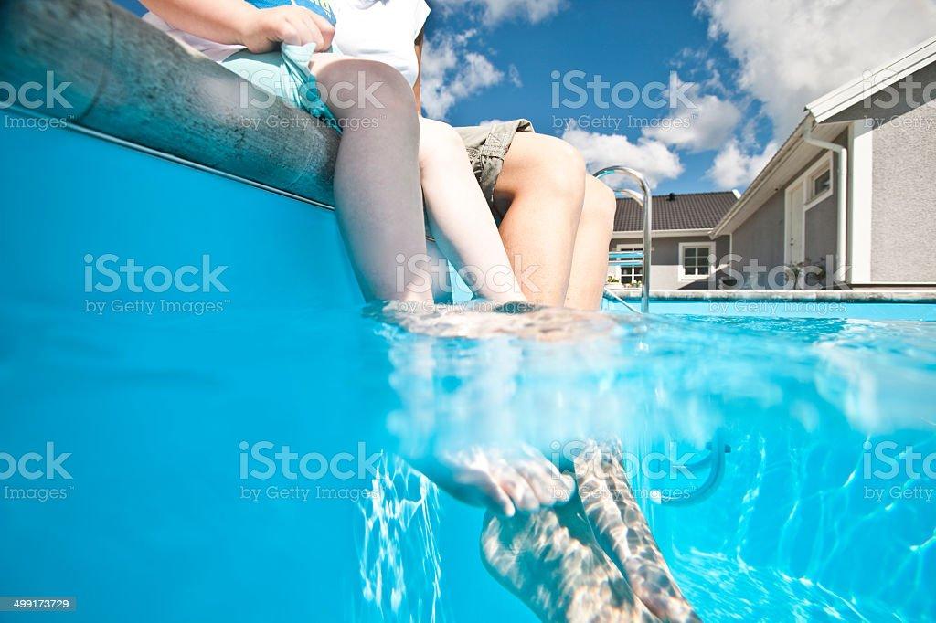 Feet in the Swimming pool stock photo