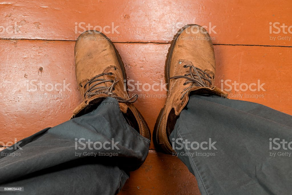 Feet in winter boots stock photo