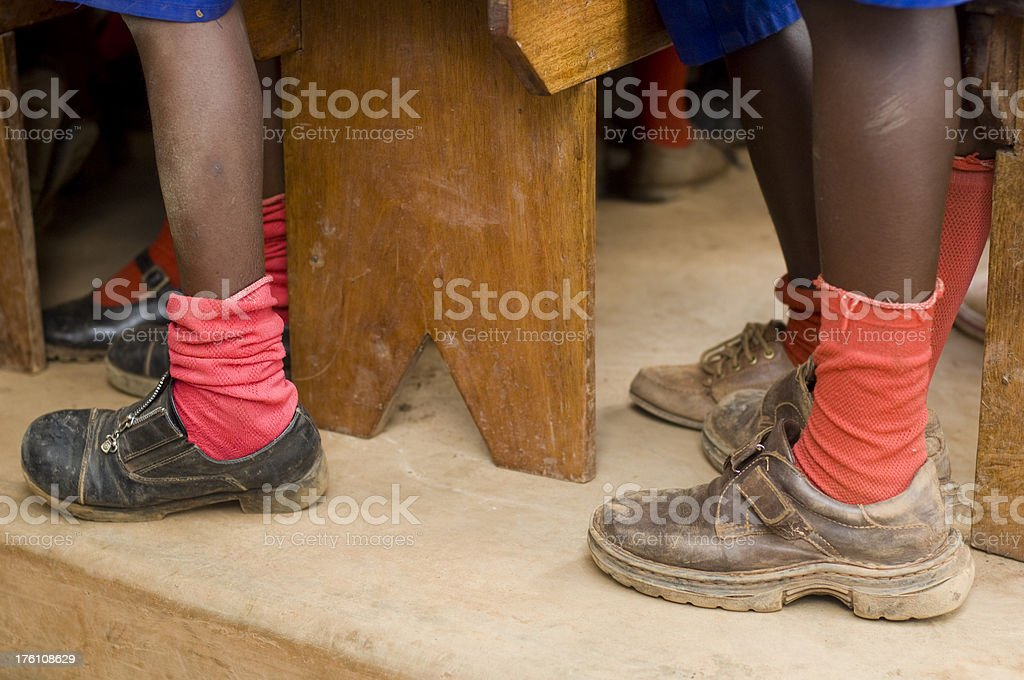 Feet of african school children stock photo