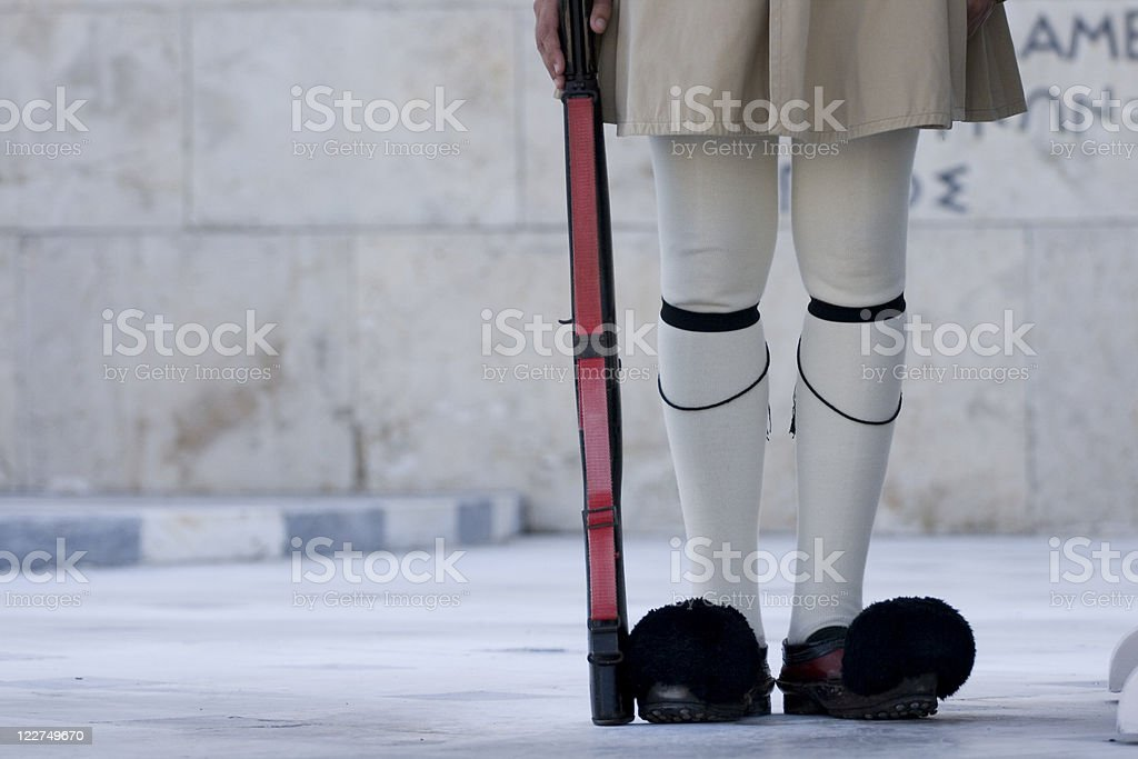 Feet of Greek Guard royalty-free stock photo