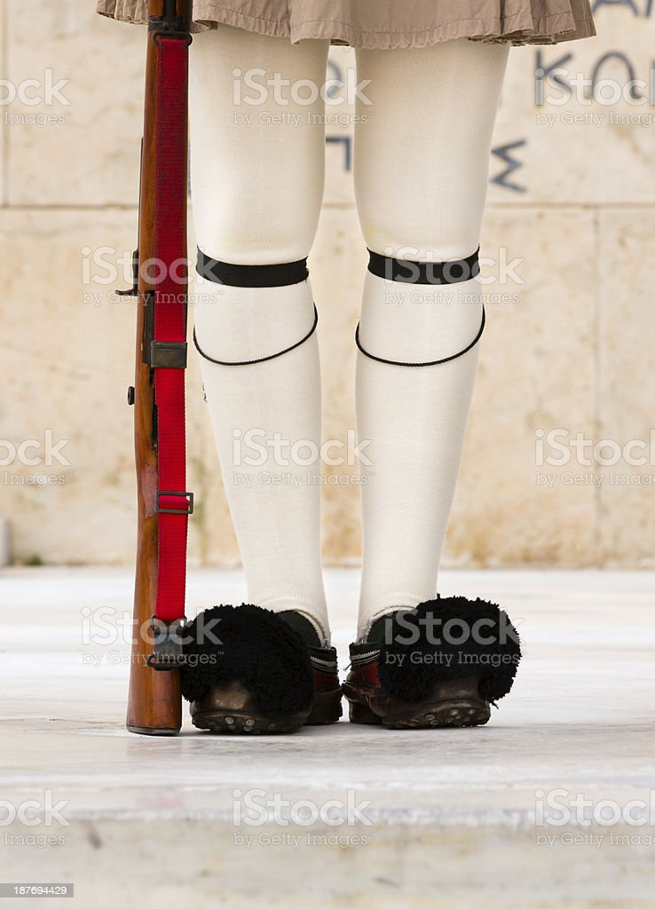 Feet of Greek Guard stock photo