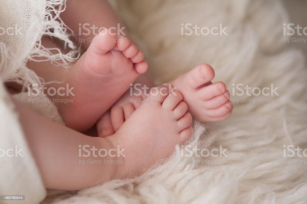 Feet of Twin Baby Girls stock photo