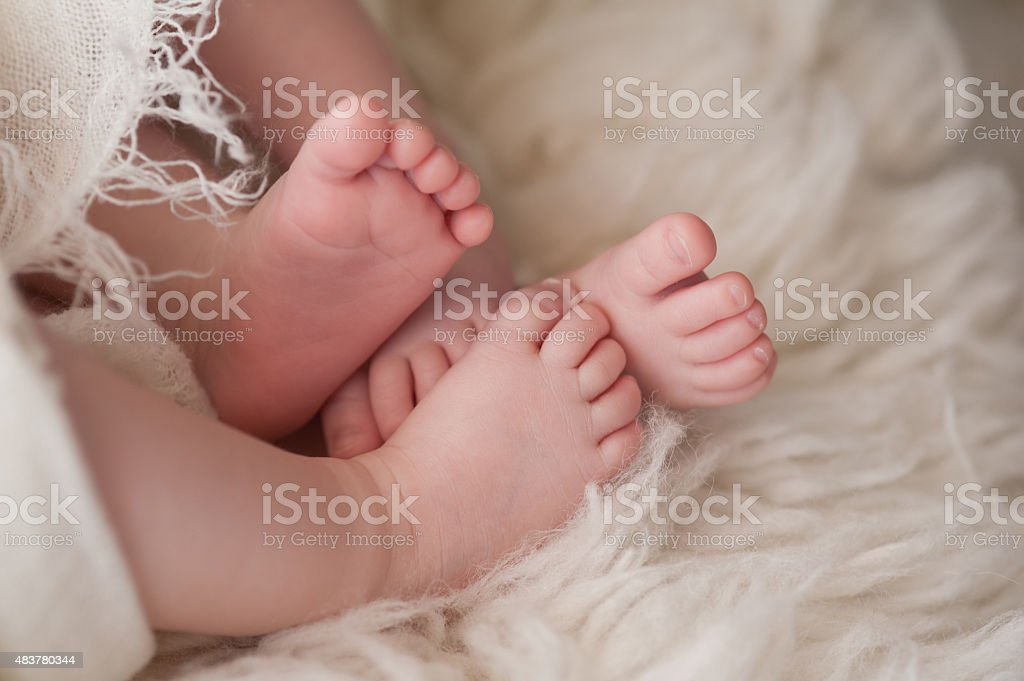 Feet of Twin Baby Girls stock photo