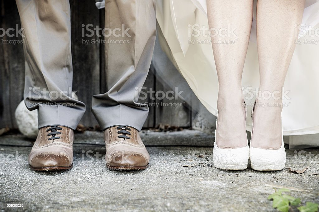 Feet of Wedding Couple stock photo