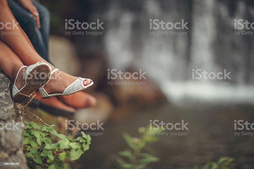 Feet of Wedding Couple stock photo