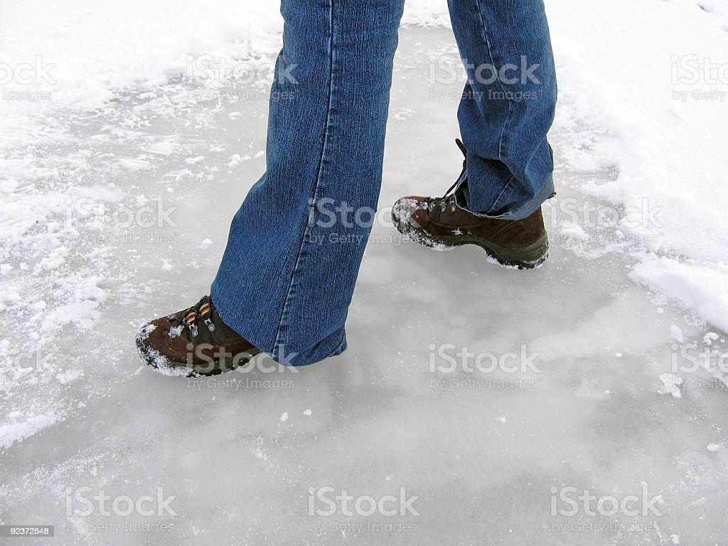 Feet on ice royalty-free stock photo