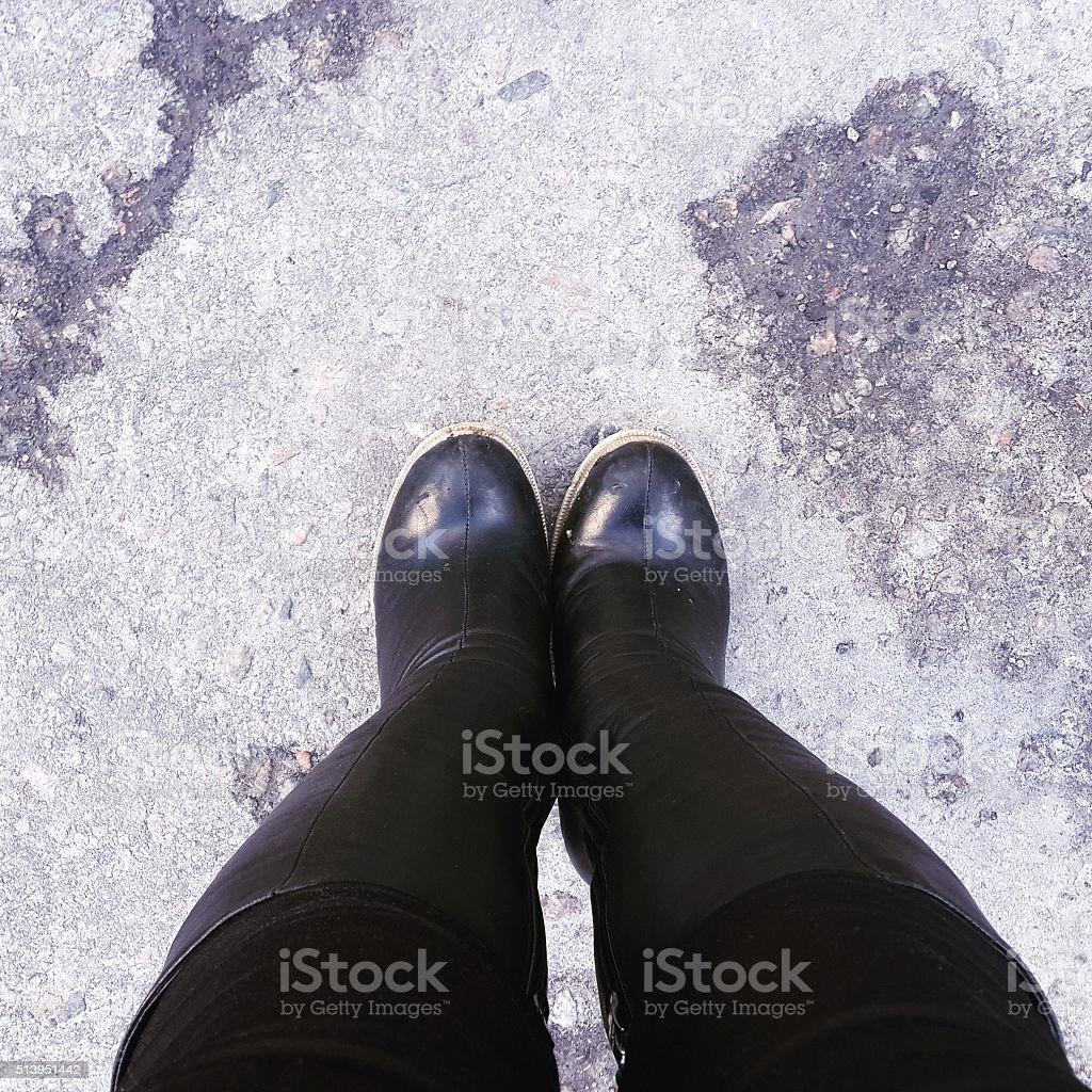 Feet on the asphalt. stock photo