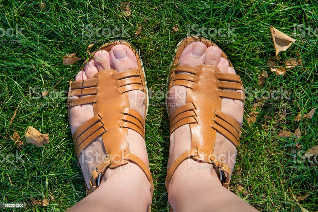 Feet on the grass. stock photo