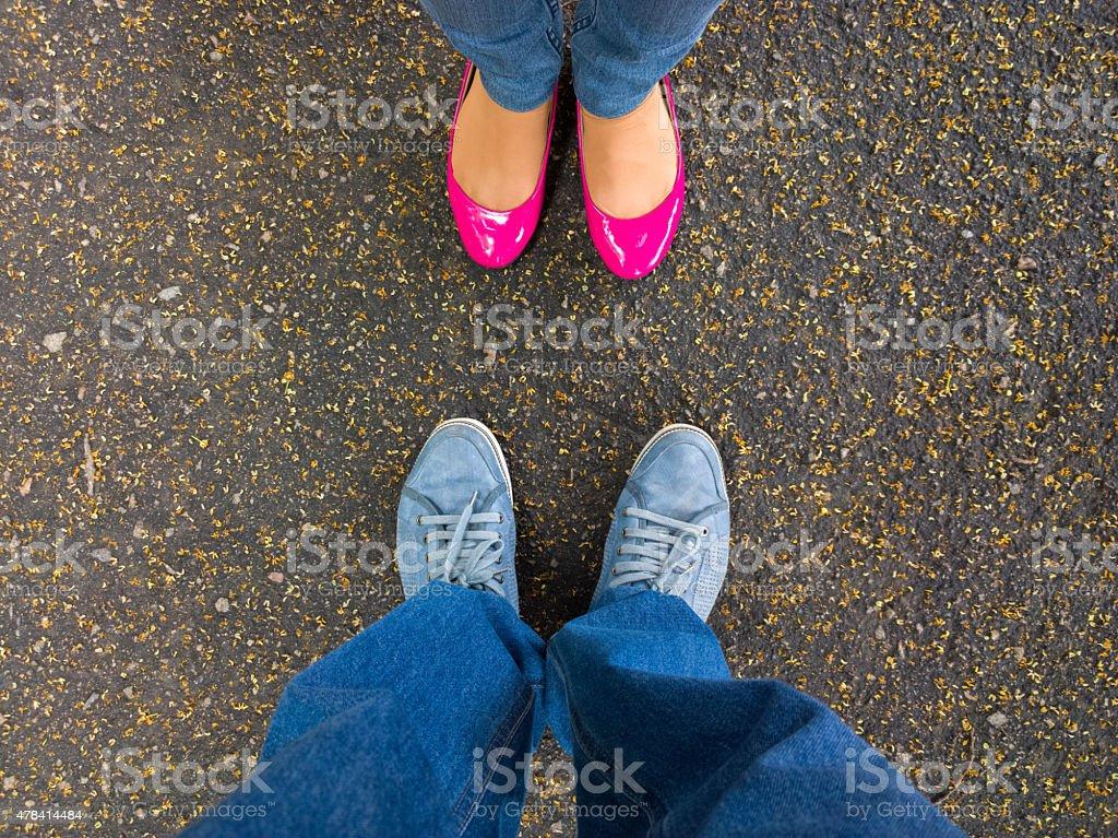 Feet on the pavement. stock photo