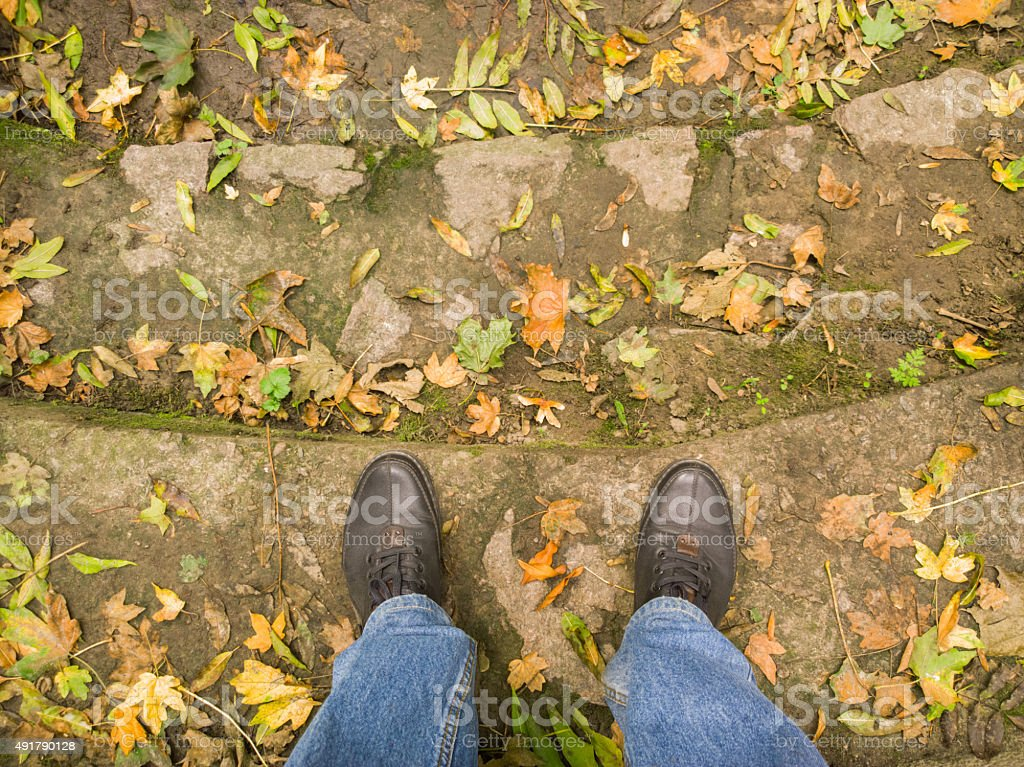 Feet on the stairs. stock photo