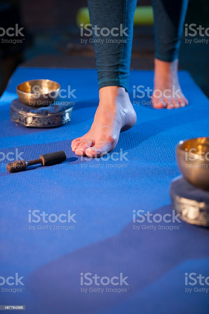 Feet on the Yoga mat_wide stock photo