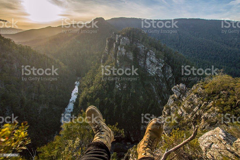 Feet over the edge. stock photo