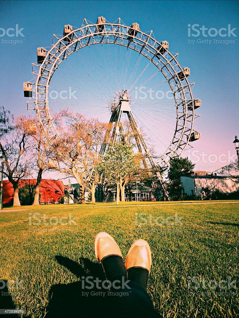 Feet selfie at Vienna Prater stock photo