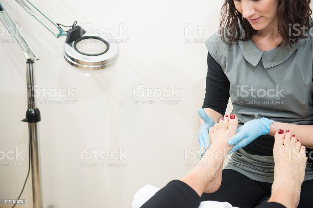 Feet Treatment at Beauty Salon, Europe stock photo